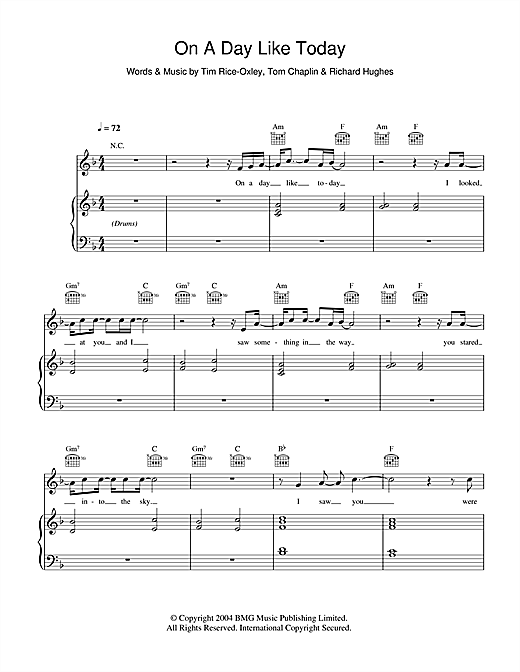 Partition piano On A Day Like Today de Keane - Piano Voix Guitare