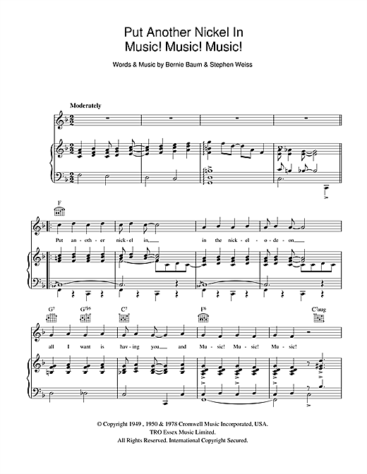 Music! Music! Music! (Put Another Nickel In) Sheet Music