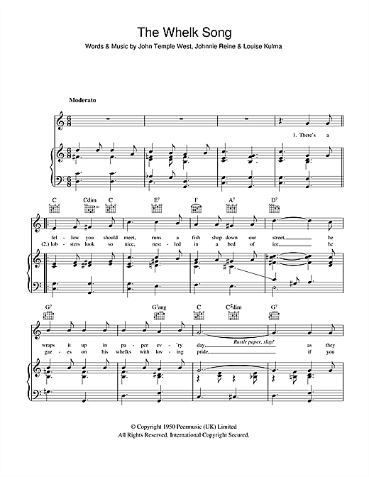 The Whelk Song Sheet Music