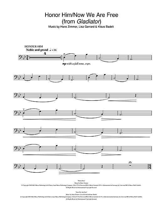 Honor Him/Now We Are Free (from Gladiator) Sheet Music By