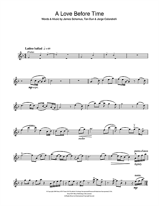 A Love Before Time (from Crouching Tiger, Hidden Dragon) Sheet Music