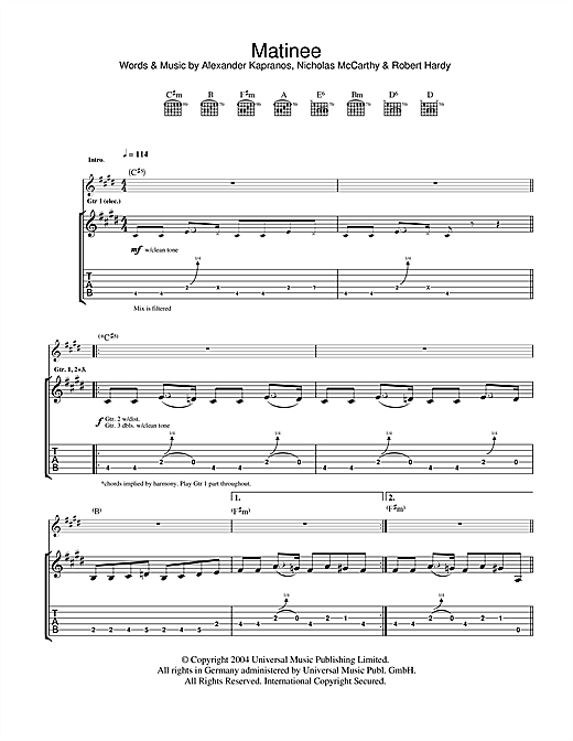 The Dark Of The Matinee (Guitar Tab)