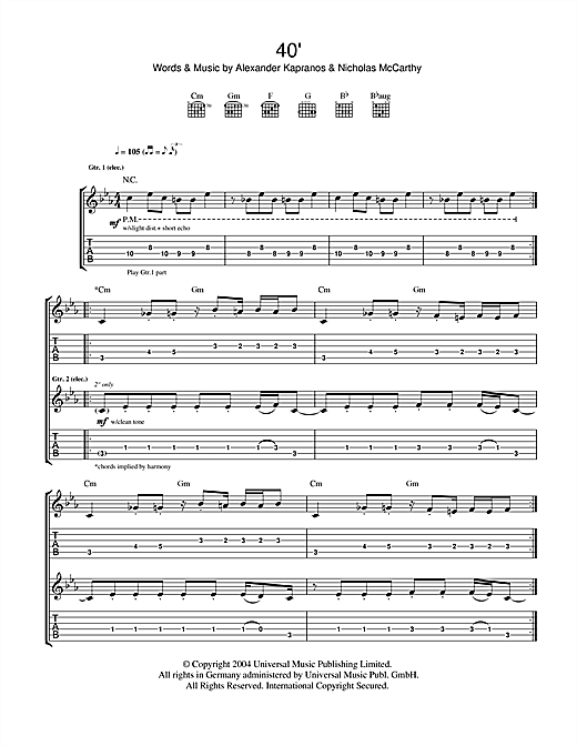 Tablature guitare 40' de Franz Ferdinand - Tablature Guitare