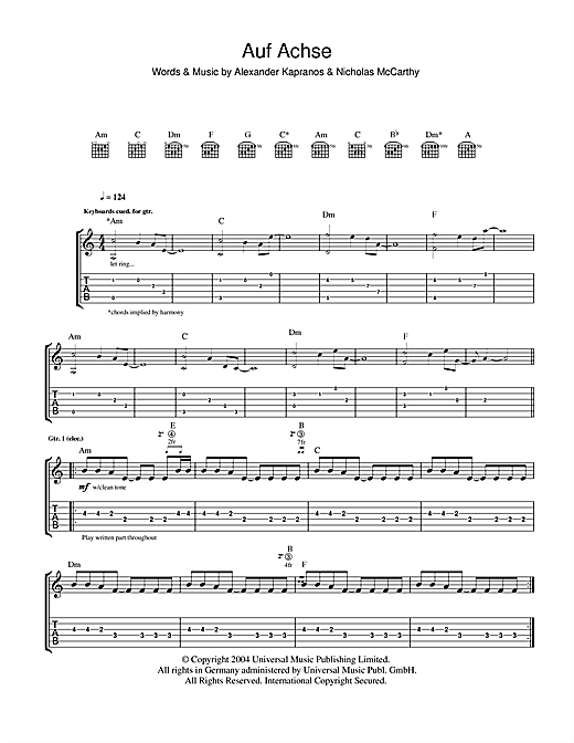 Tablature guitare Auf Achse de Franz Ferdinand - Tablature Guitare