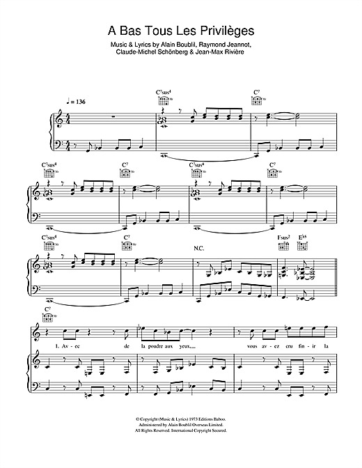 A Bas Tous Les Privileges Sheet Music