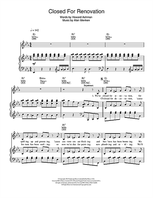 Partition piano Closed For Renovation (from Little Shop Of Horrors) de Alan Menken - Piano Voix Guitare