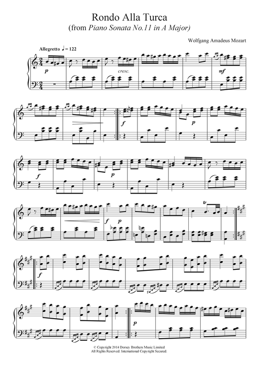 Partition piano Rondo Alla Turca, from the Piano Sonata A Major, K331 de Wolfgang Amadeus Mozart - Piano Solo