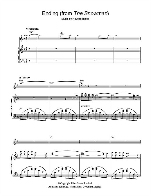 Ending (from The Snowman) Sheet Music