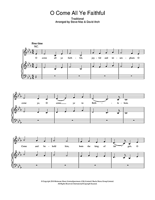 O Come All Ye Faithful (Piano, Vocal & Guitar (Right-Hand Melody))