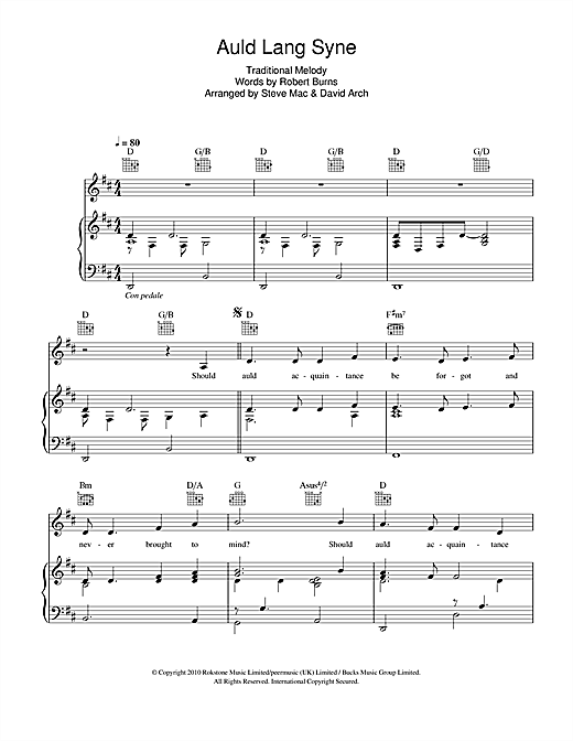 Auld Lang Syne Print Sheet Music Now
