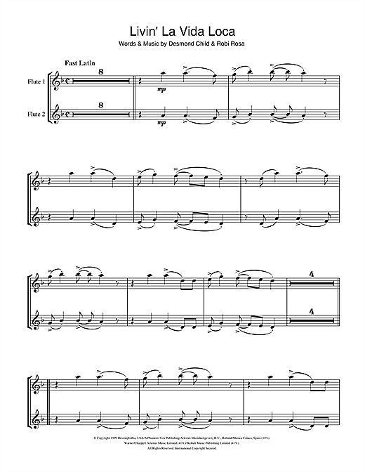 Livin' La Vida Loca Sheet Music