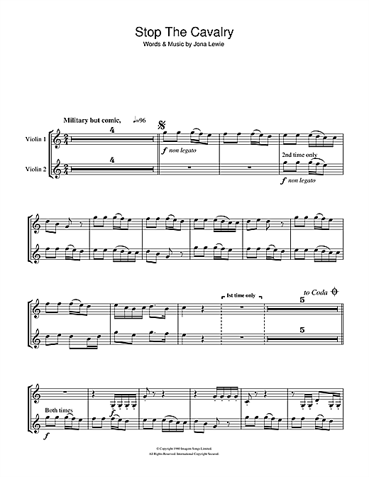 Stop The Cavalry Sheet Music