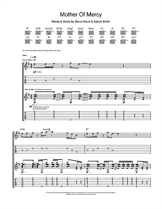 Tablature guitare Mother Of Mercy de Iron Maiden - Tablature Guitare