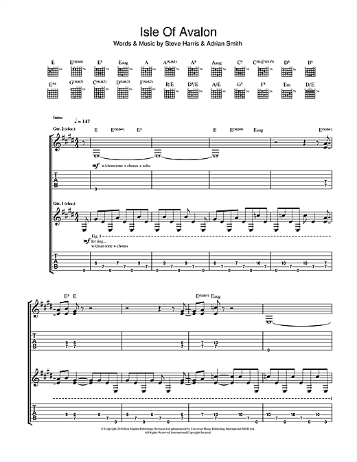 Tablature guitare Isle Of Avalon de Iron Maiden - Tablature Guitare