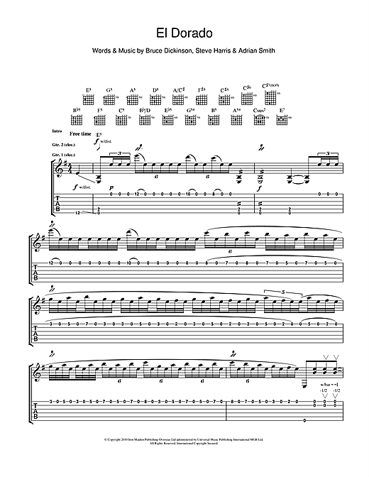 Tablature guitare El Dorado de Iron Maiden - Tablature Guitare