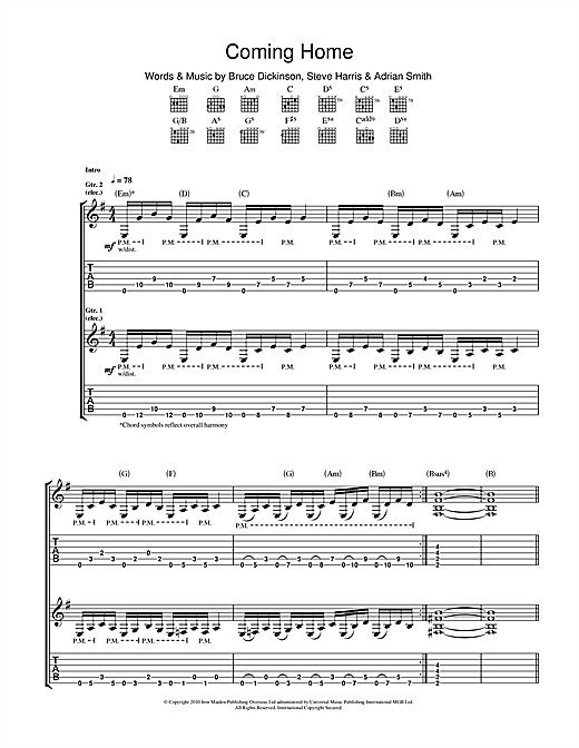 Tablature guitare Coming Home de Iron Maiden - Tablature Guitare