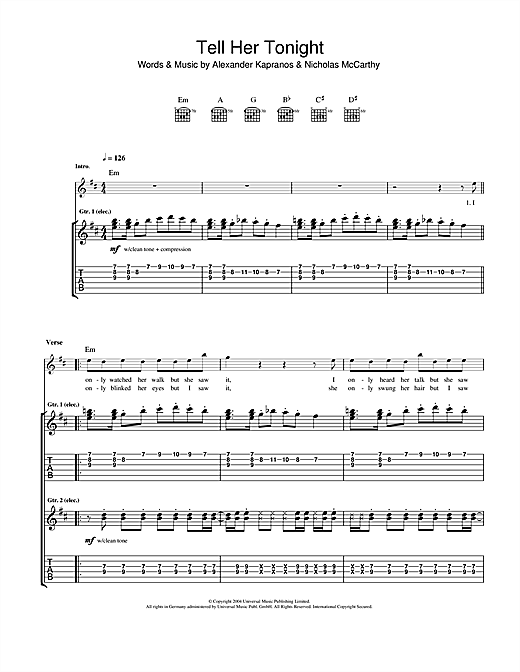 Tablature guitare Tell Her Tonight de Franz Ferdinand - Tablature Guitare
