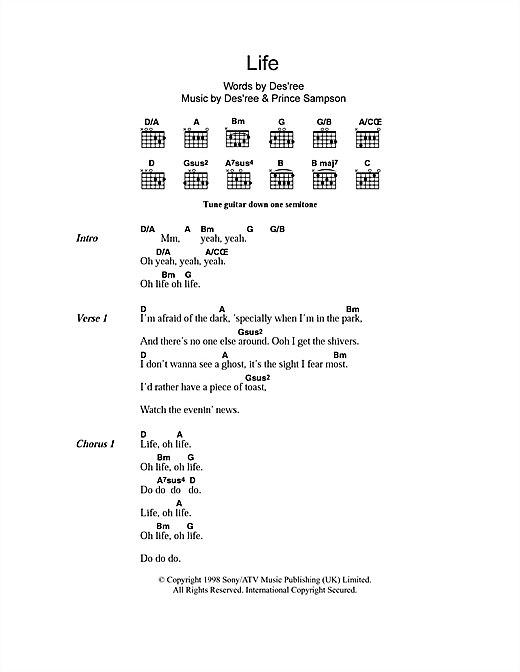 Life (Guitar Chords/Lyrics)