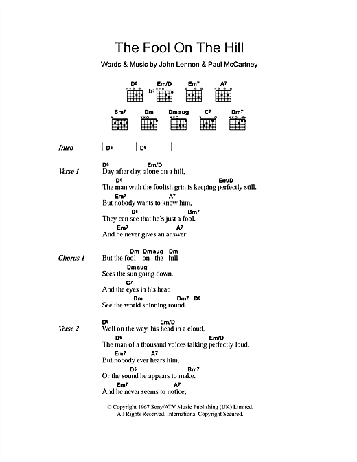The Fool On The Hill (Guitar Chords/Lyrics)