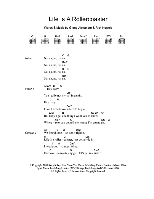Life Is A Rollercoaster (Guitar Chords/Lyrics)
