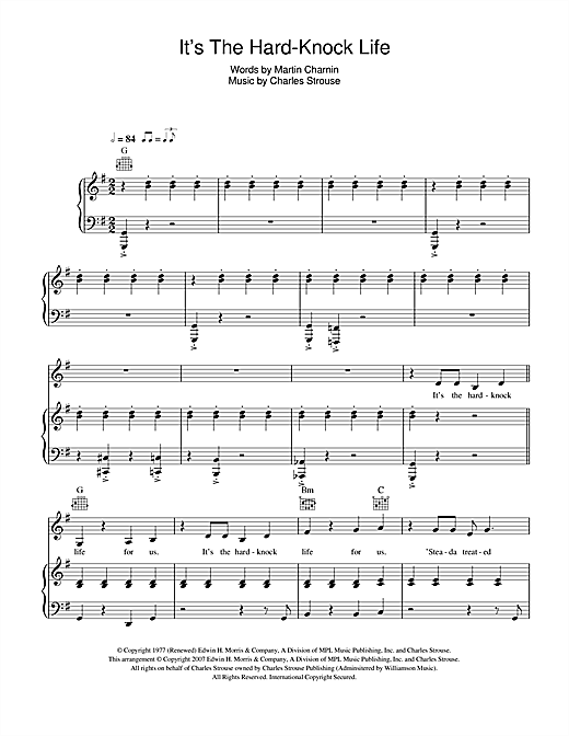It's The Hard-Knock Life (from Annie) Sheet Music
