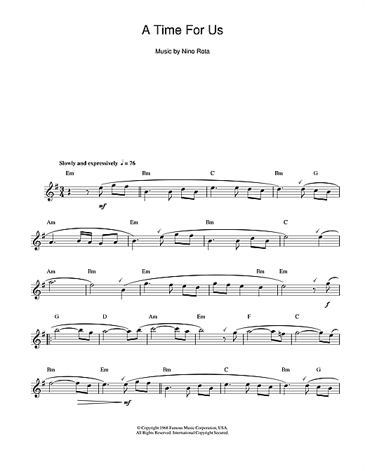Romeo And Juliet (Love Theme) Sheet Music
