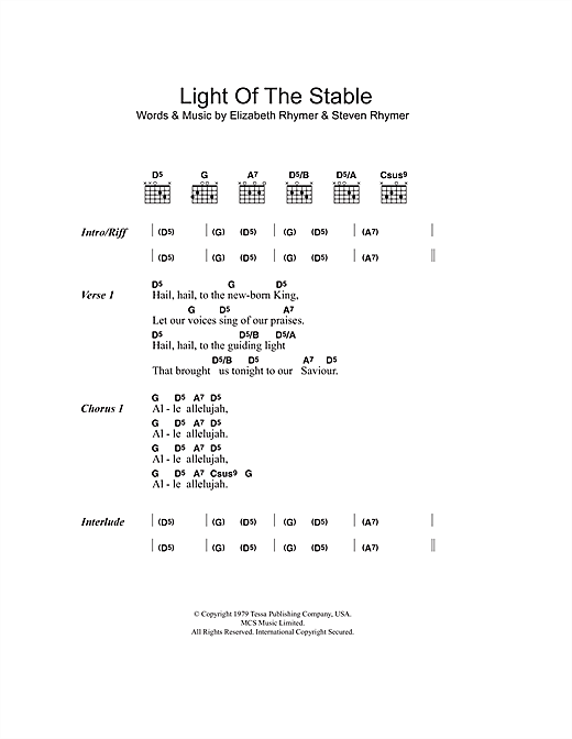 Light Of The Stable Sheet Music