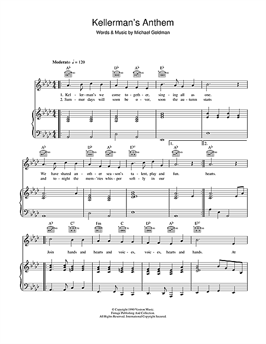 Kellerman 39 s anthem from dirty dancing sheet music by the Kellermans dirty dancing
