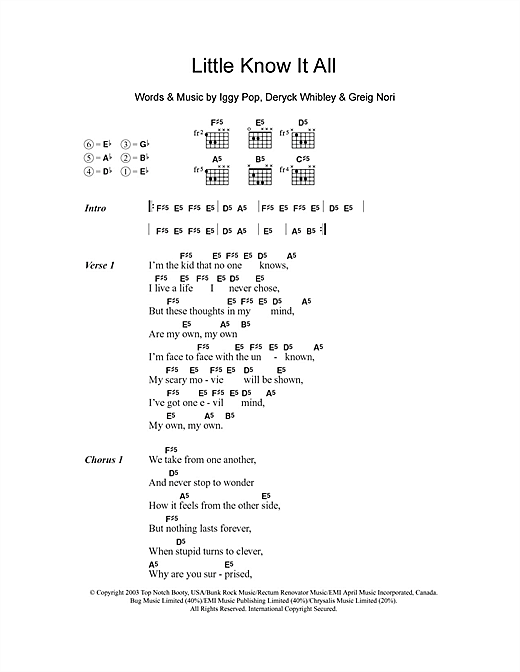 Little Know It All (Guitar Chords/Lyrics)