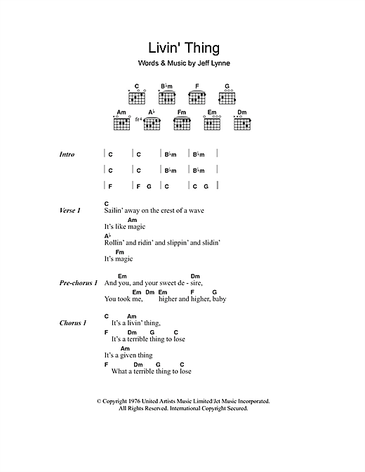Livin Thing Sheet Music By Electric Light Orchestra Lyrics