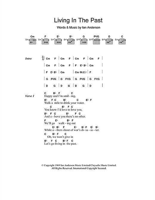Living In The Past (Guitar Chords/Lyrics)