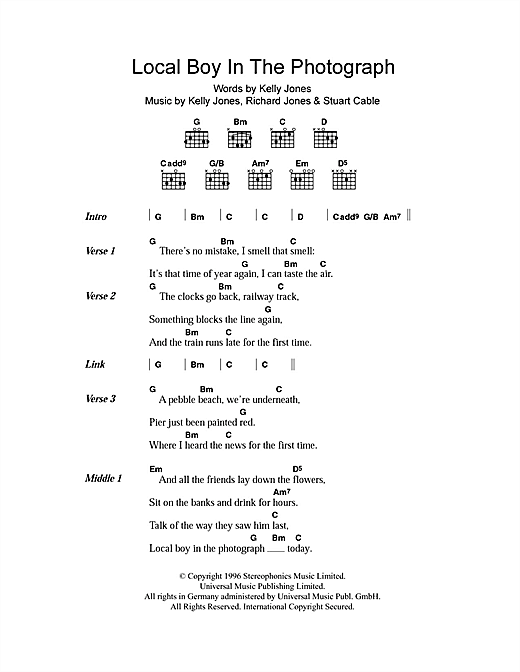 Local Boy In The Photograph sheet music by Stereophonics (Lyrics u0026 Chords u2013 105312)