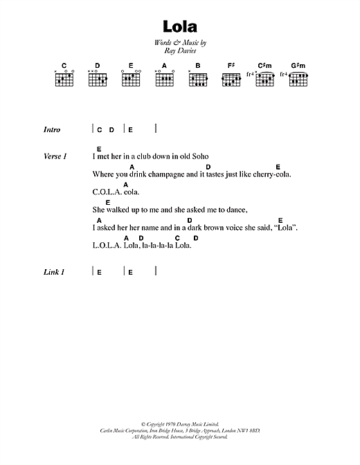 Lola sheet music by The Kinks (Lyrics & Chords – 105314)
