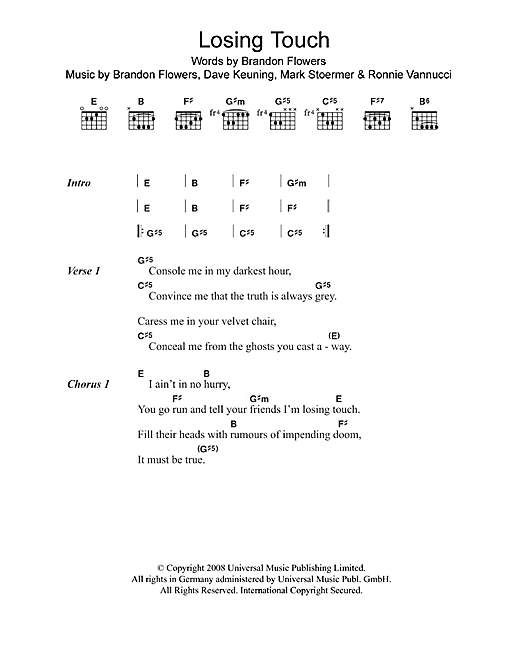 Losing Touch Sheet Music
