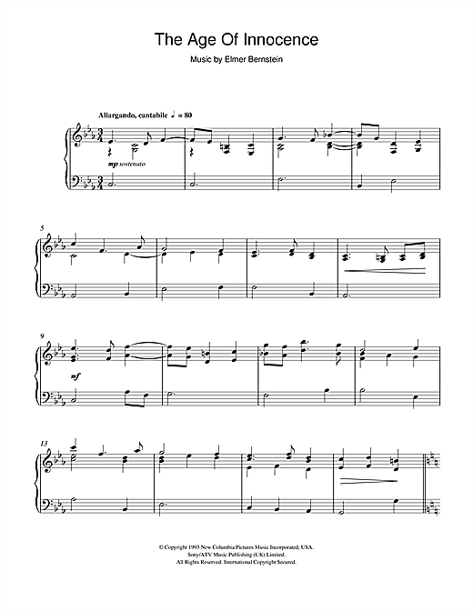Age Of Innocence (End Credits) Sheet Music