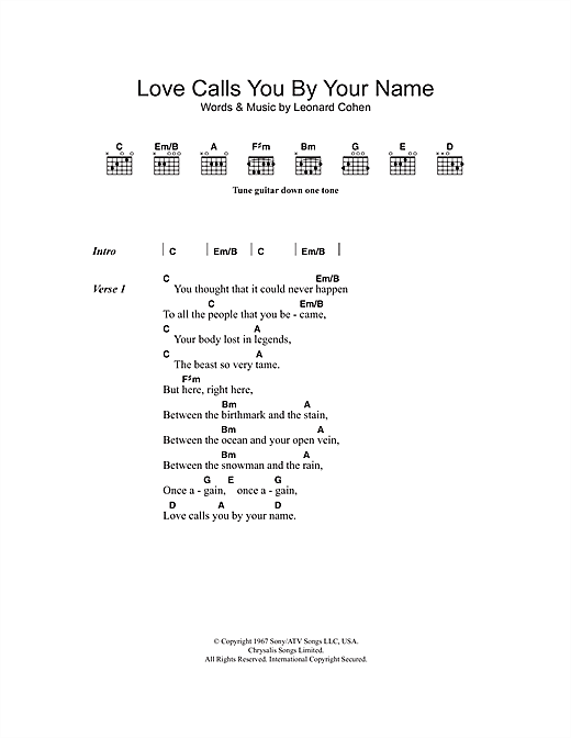 Love Calls You By Your Name Sheet Music