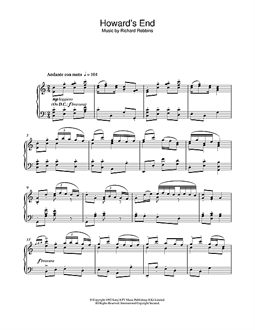 Howard's End (Closing Credits) Sheet Music