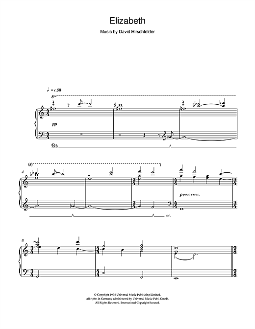 Elizabeth (Love Theme) Sheet Music