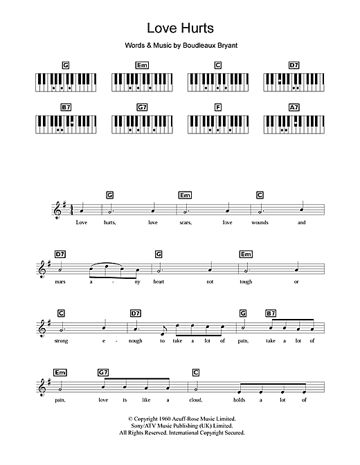 Love Hurts Sheet Music