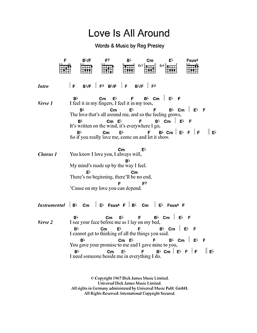 Love Is All Around (Guitar Chords/Lyrics)