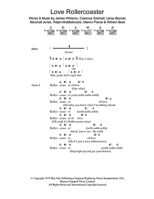 Love Rollercoaster Sheet Music By Ohio Players Lyrics Chords