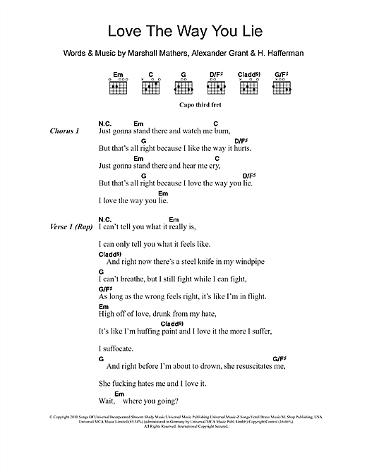 Love The Way You Lie (feat. Rihanna) Sheet Music