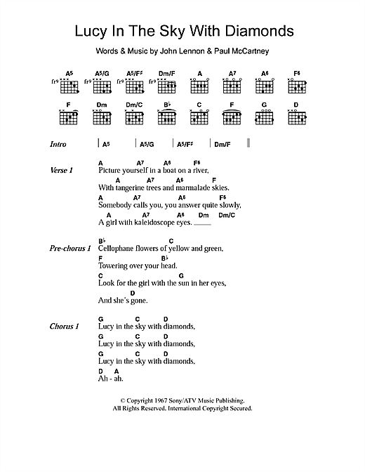 Lucy In The Sky With Diamonds Sheet Music By The Beatles Lyrics