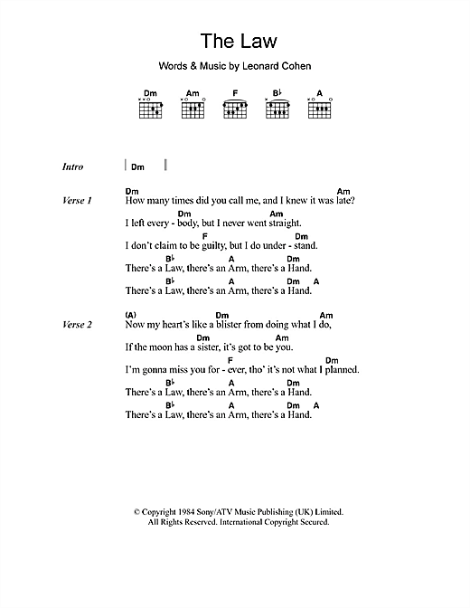 The Law Sheet Music By Leonard Cohen Lyrics Chords 105406