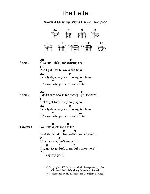 The Letter sheet music by The Box Tops (Lyrics & Chords – 105407)