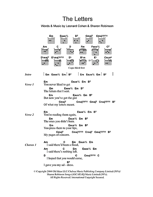 The Letters Sheet Music By Leonard Cohen Lyrics Chords 105410