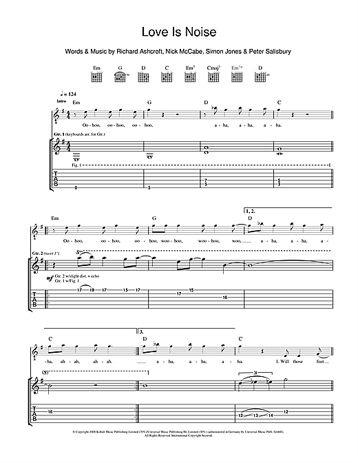 Tablature guitare Love Is Noise de The Verve - Tablature Guitare