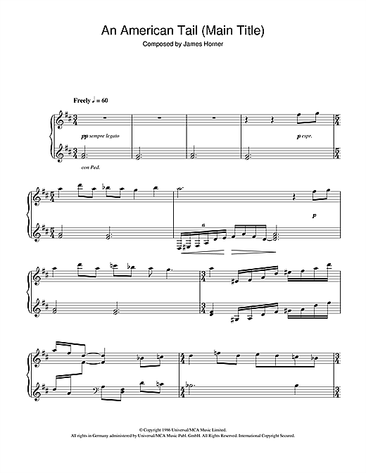An American Tail (Main Title) Sheet Music