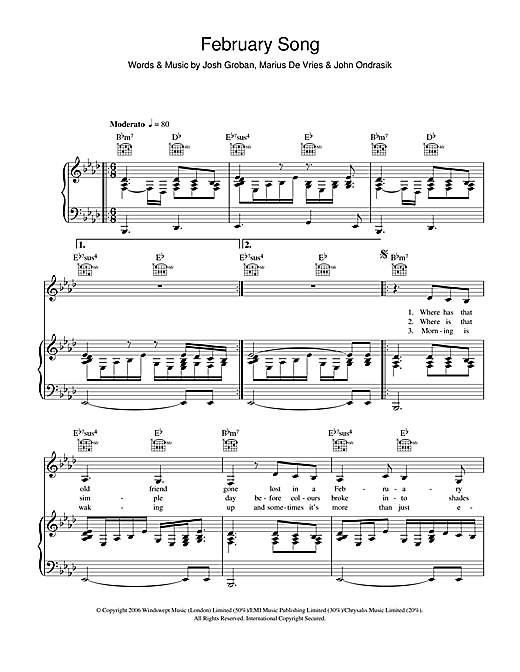 Partition piano February Song de Josh Groban - Piano Voix Guitare