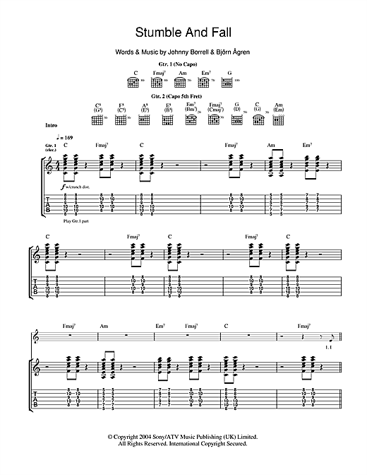 Stumble And Fall (Guitar Tab)